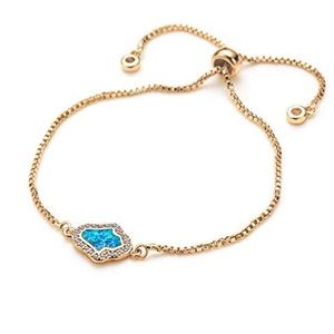 Jewelry - Beautiful Blue Opal Hamsa Adjustable Bracelet